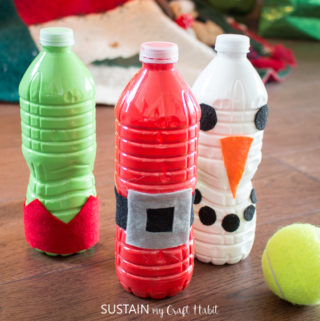 wupcycled plastic water bottles turned into a DIY bowling gamebottle bowling