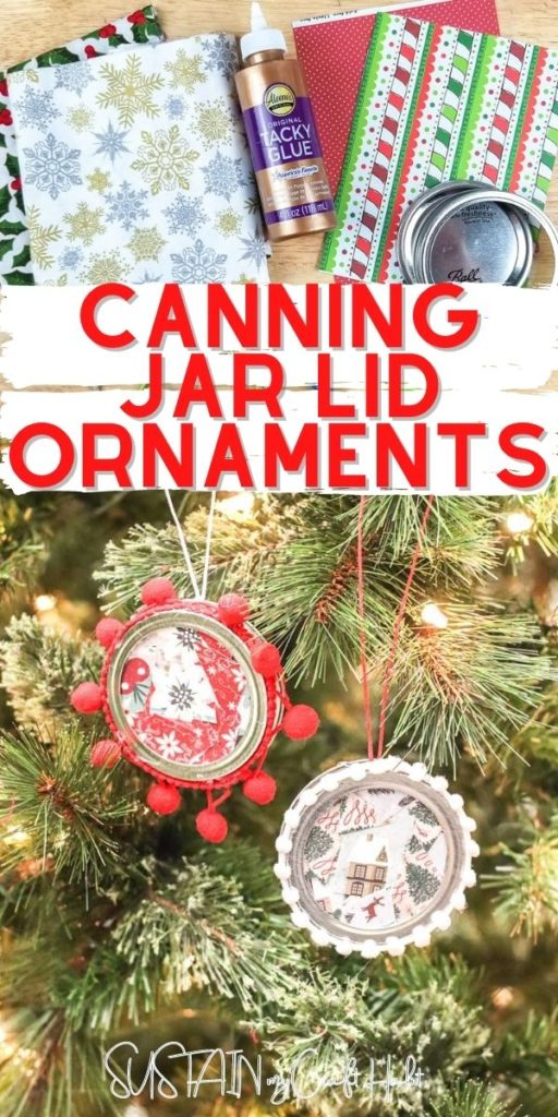 Collage of process pictures with text overlay showing how to make canning jar lid ornaments.