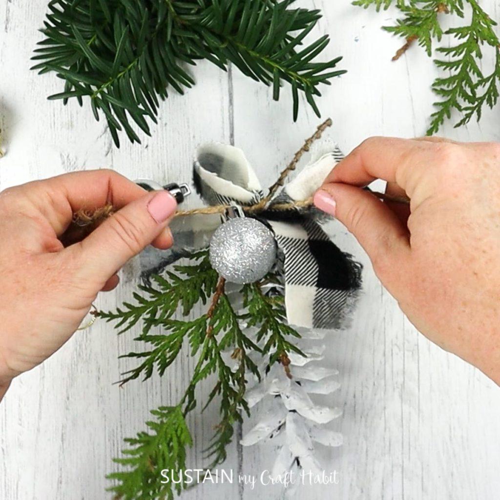 adding a mini ball ornament