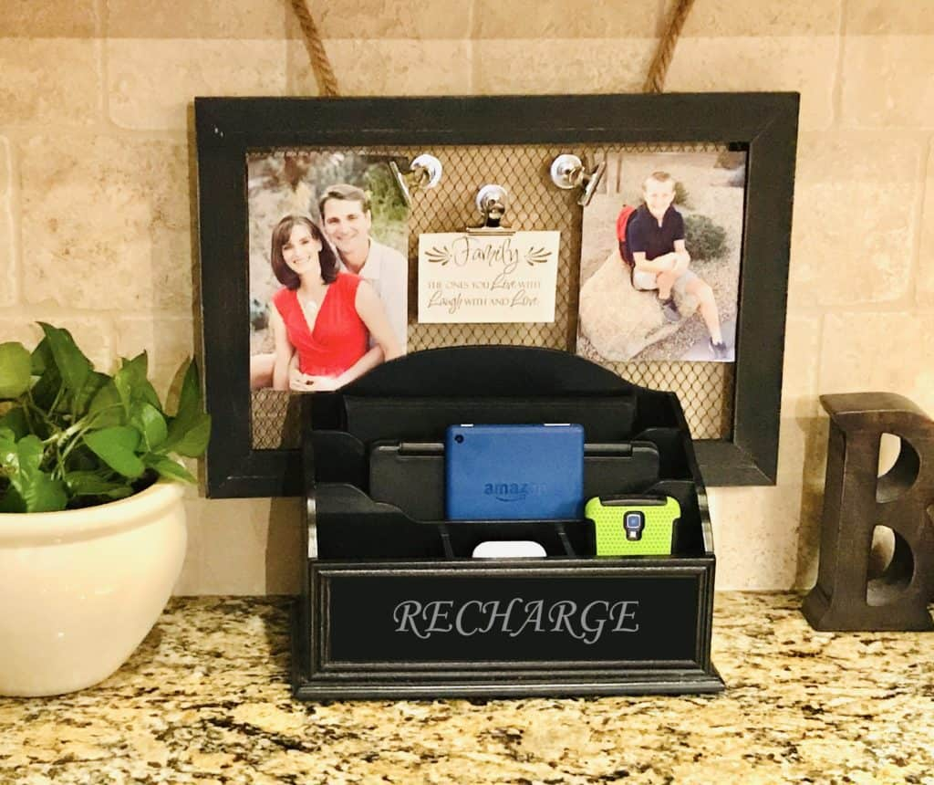 upcycled home organizing charger station