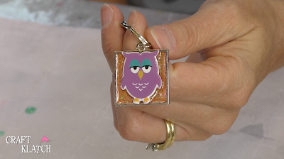 Resin crafts owl keychain
