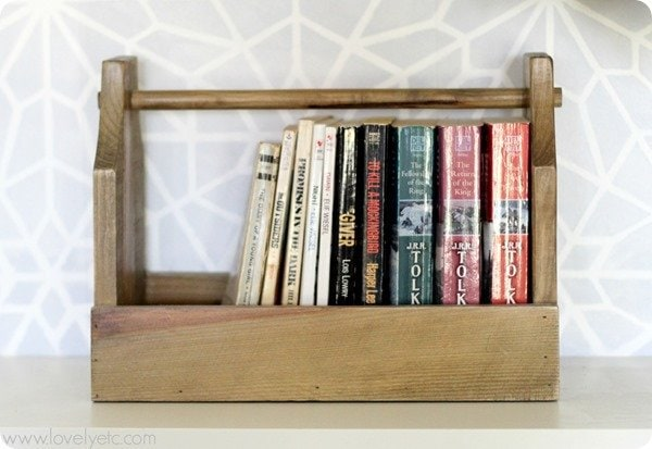 upcycled home organizing vintage tool box.