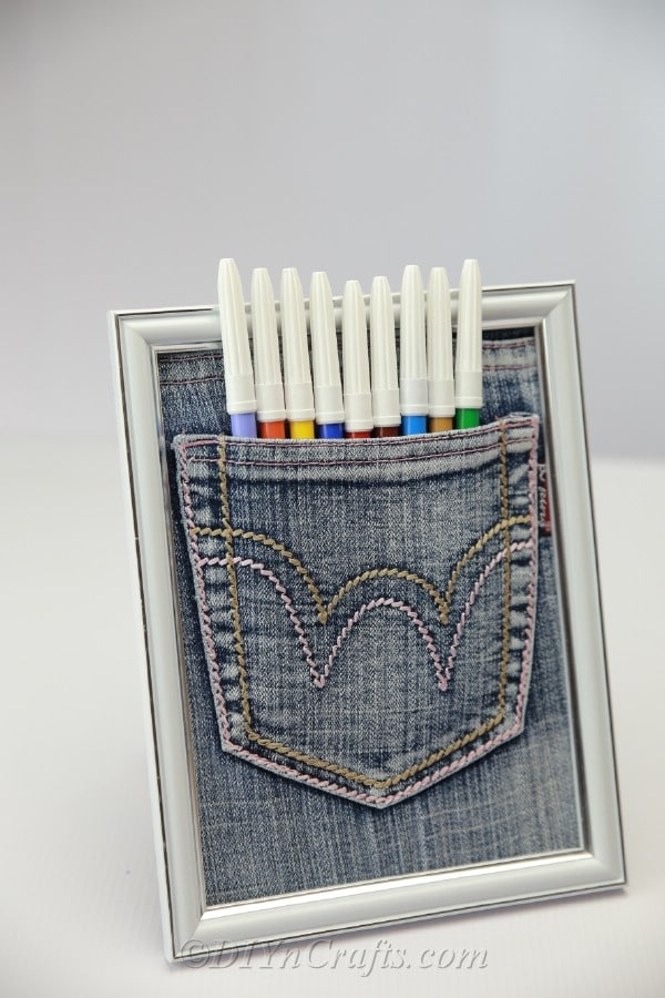 upcycled home organizing denim pants.