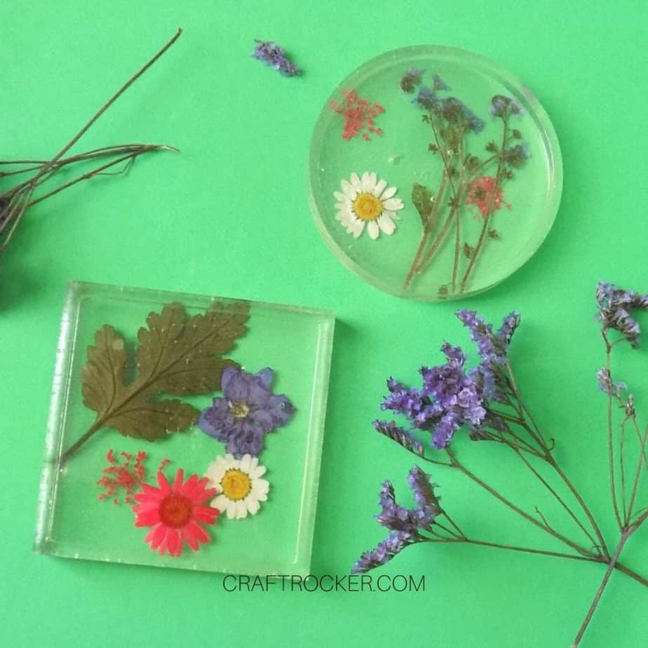 Resin crafts pressed flower coasters