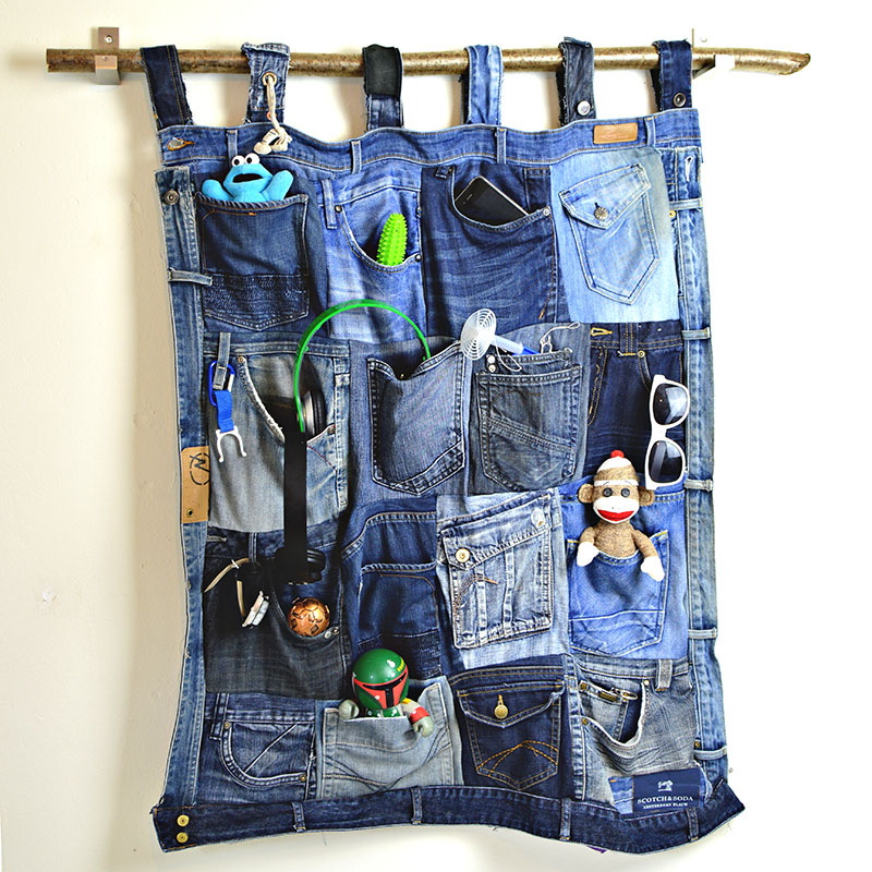 upcycled home organizing denim hanger