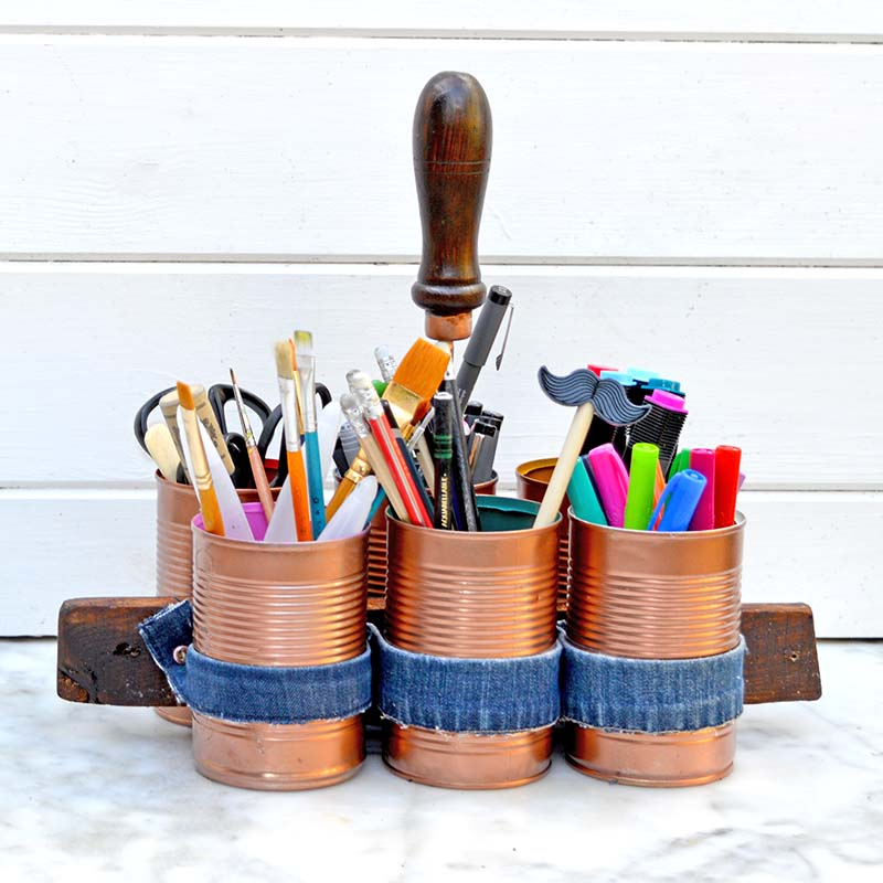 upcycled home organizing craft caddy.