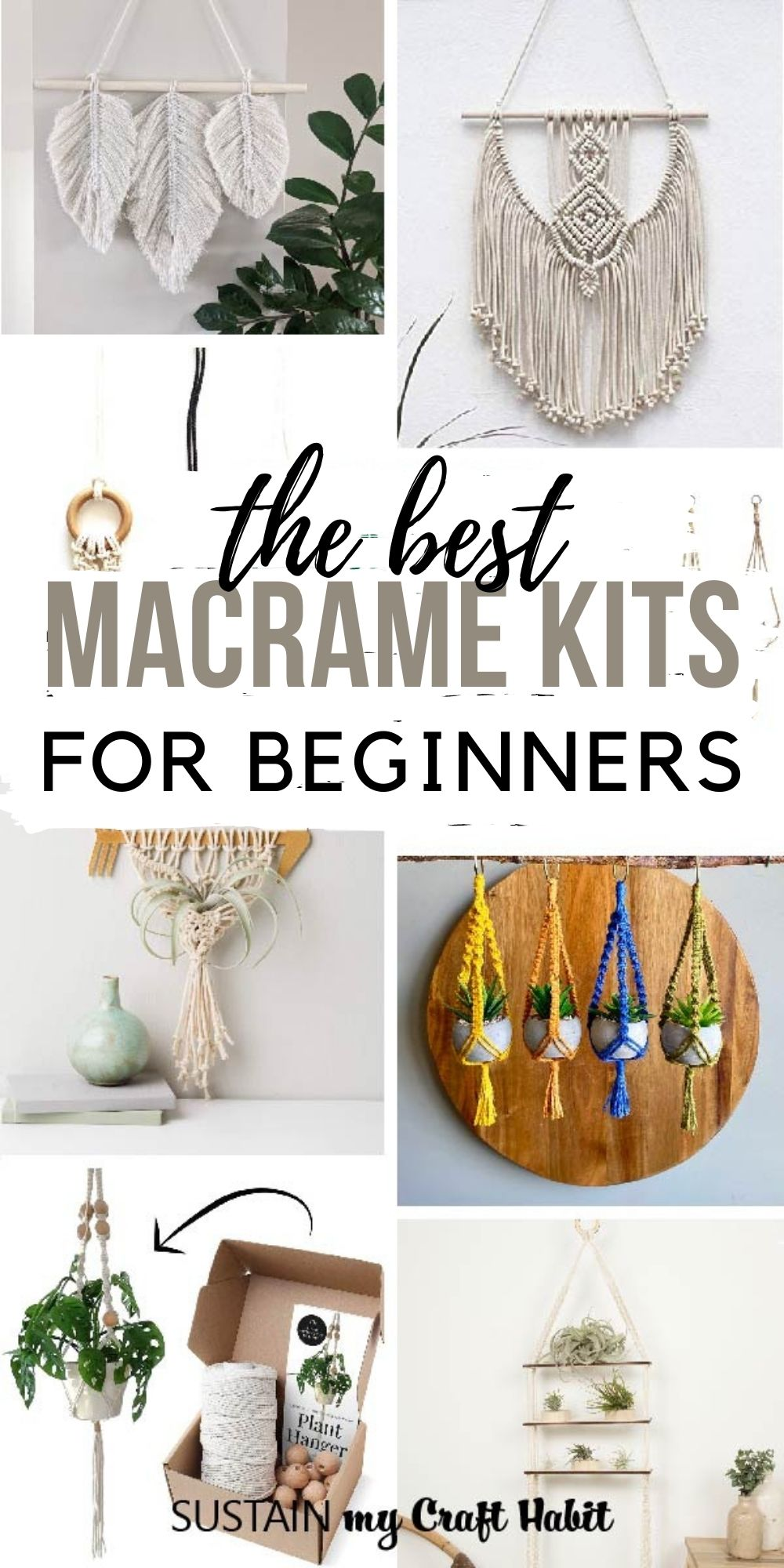 Collage of images showing DIY macrame kits including wall hangings, macrame planters, feathers and more.