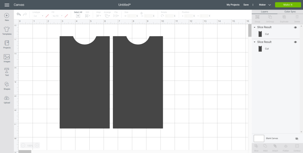 Duplicating the rectangle shape in Cricut Design space.