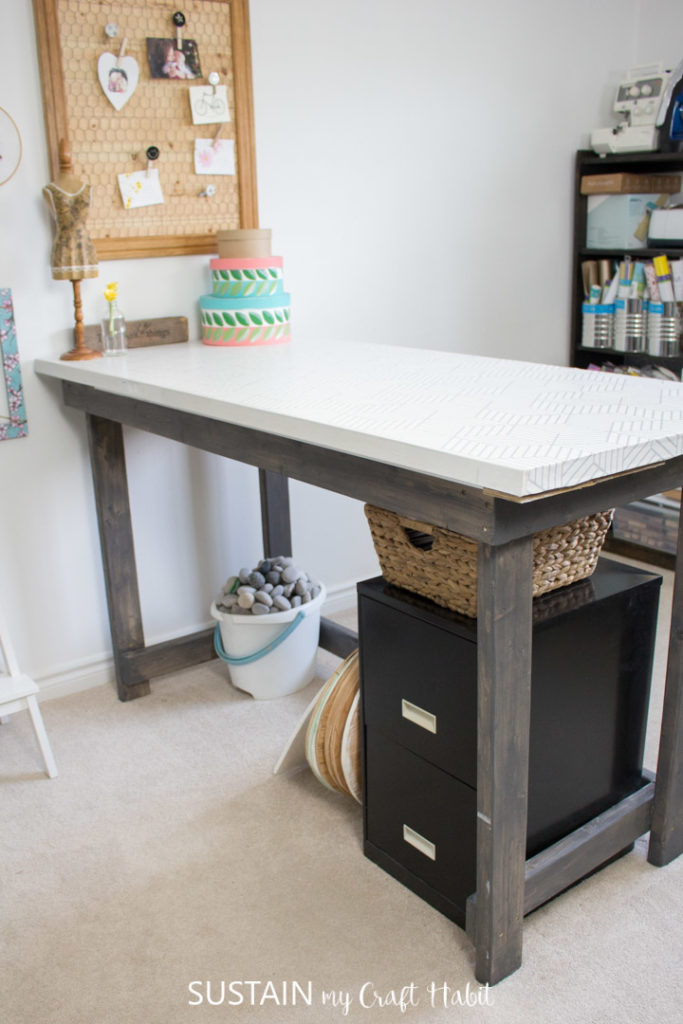 Work table made from a repurposed door.