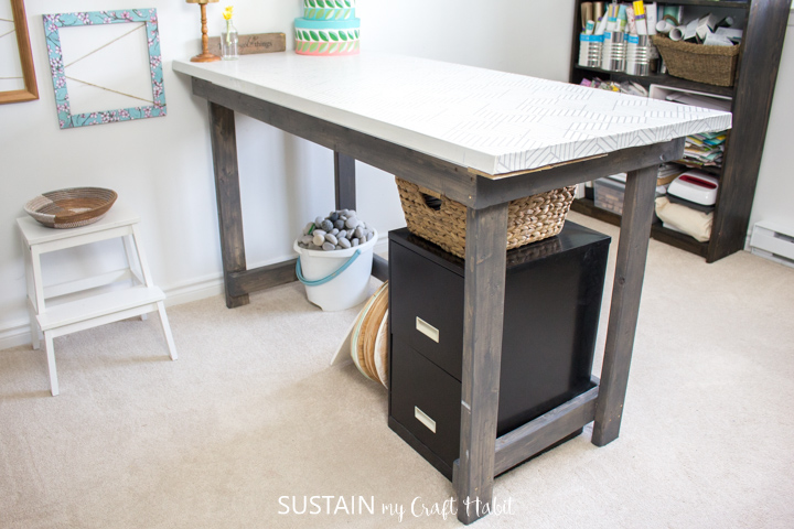 Finished work table made from a repurposed door.