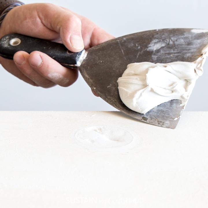 Drywall mud on a spatula.