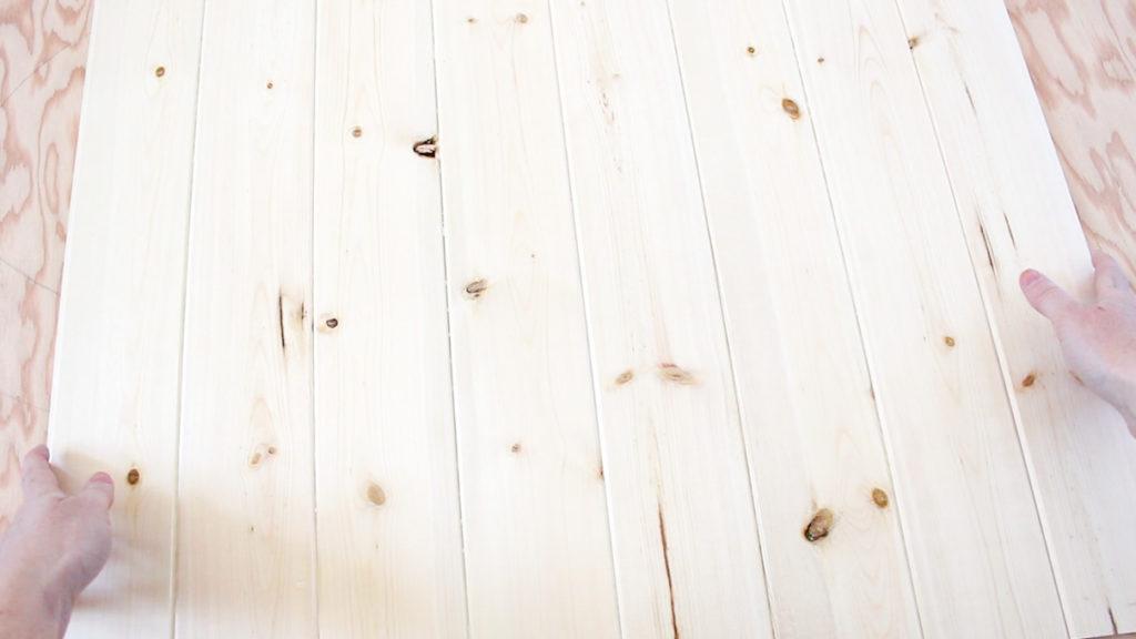 Pine boards glued together.