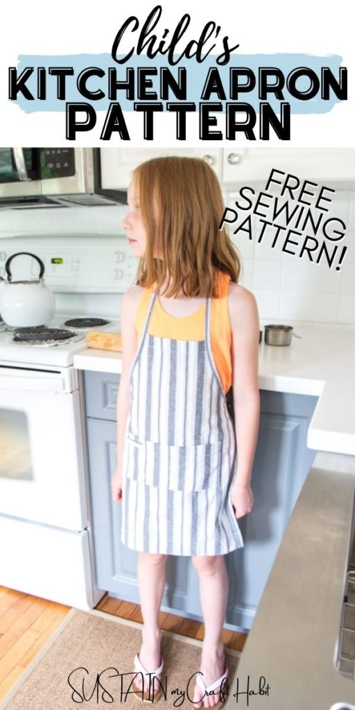 child wearing kitchen apron