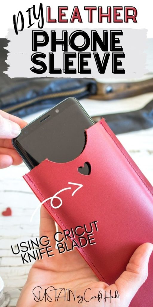 Inserting a phone into a red leather phone sleeve with text overlay.