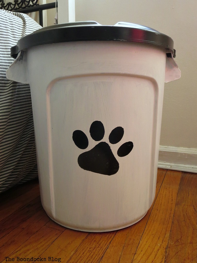 upcycled home organizing dog food organization.
