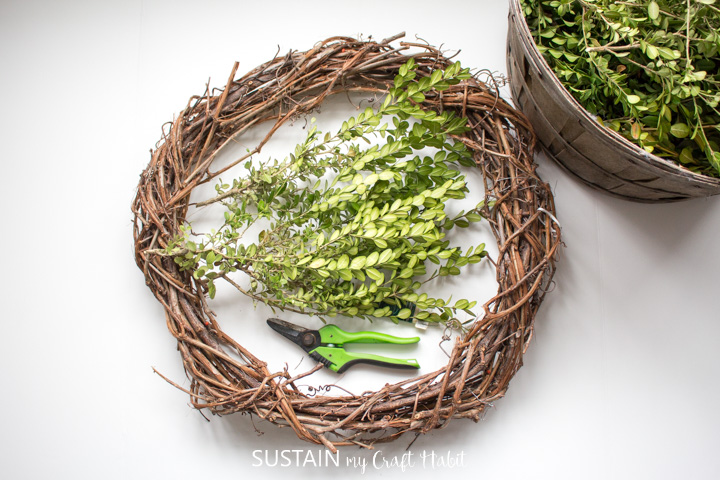 Materials needed to make a boxwood wreath including boxwood leaves, gardening shears, floral wire and a grapevine wreath.