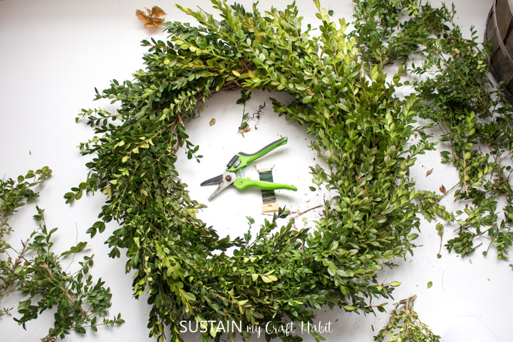 Finished boxwood wreath with extra clippings and gardening shears.