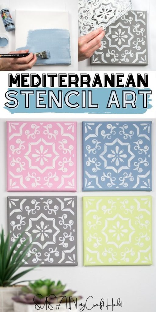 Process pictures of Mediterranean stencil tile art with text overlay.