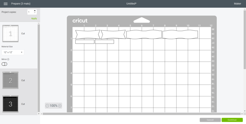 Selecting the grip mat in Cricut Design Space.