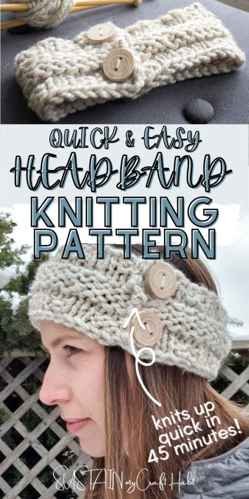 Collage of knitted headband, text overlay and a woman wearing a headband.