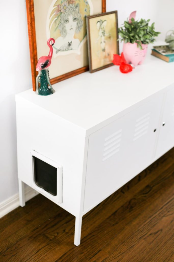 ikea hack cabinet with a door on the side.