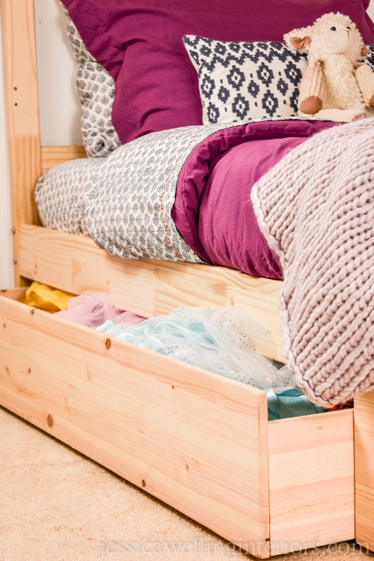 Ikea hack ideas, adding under bed pullout storage.