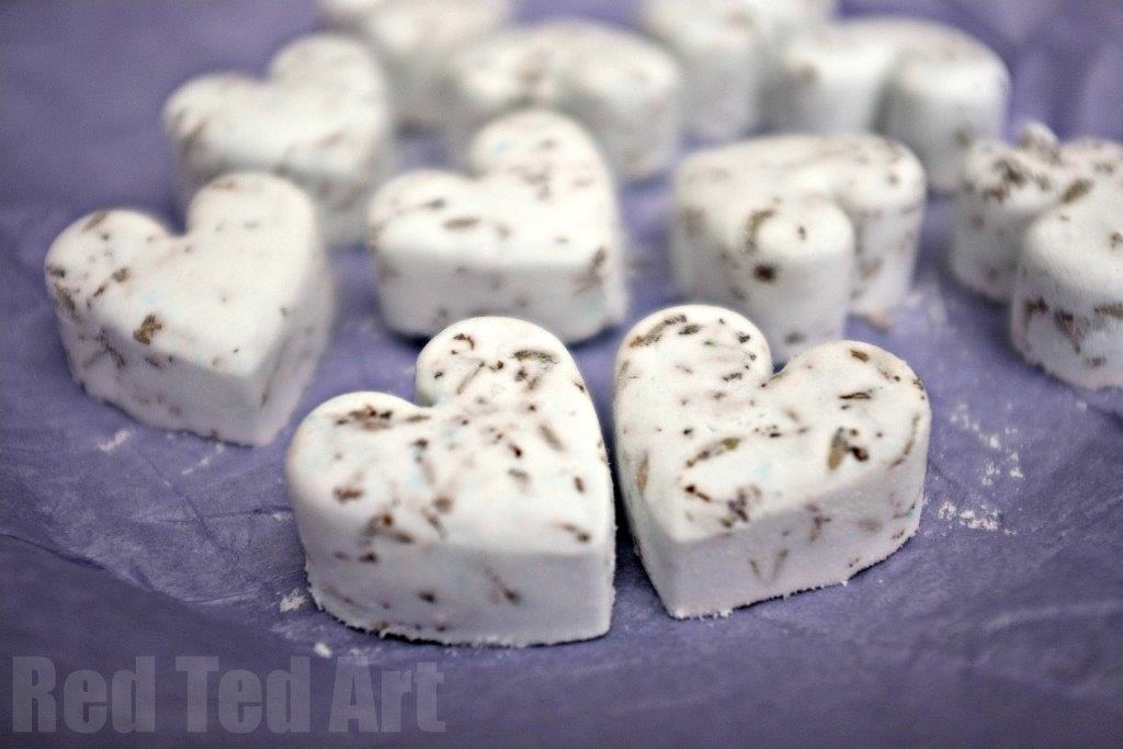lavender craft heart shaped bath bombs.