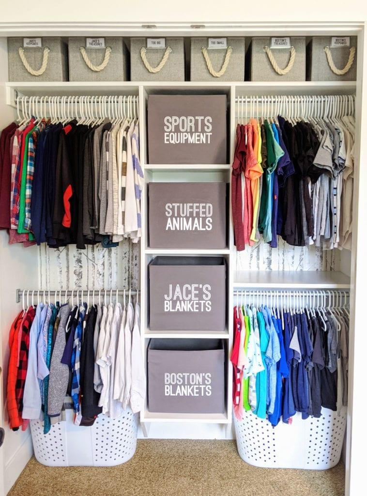 Ikea hack ideas turning grey bins into labelled organizers inside a closet.
