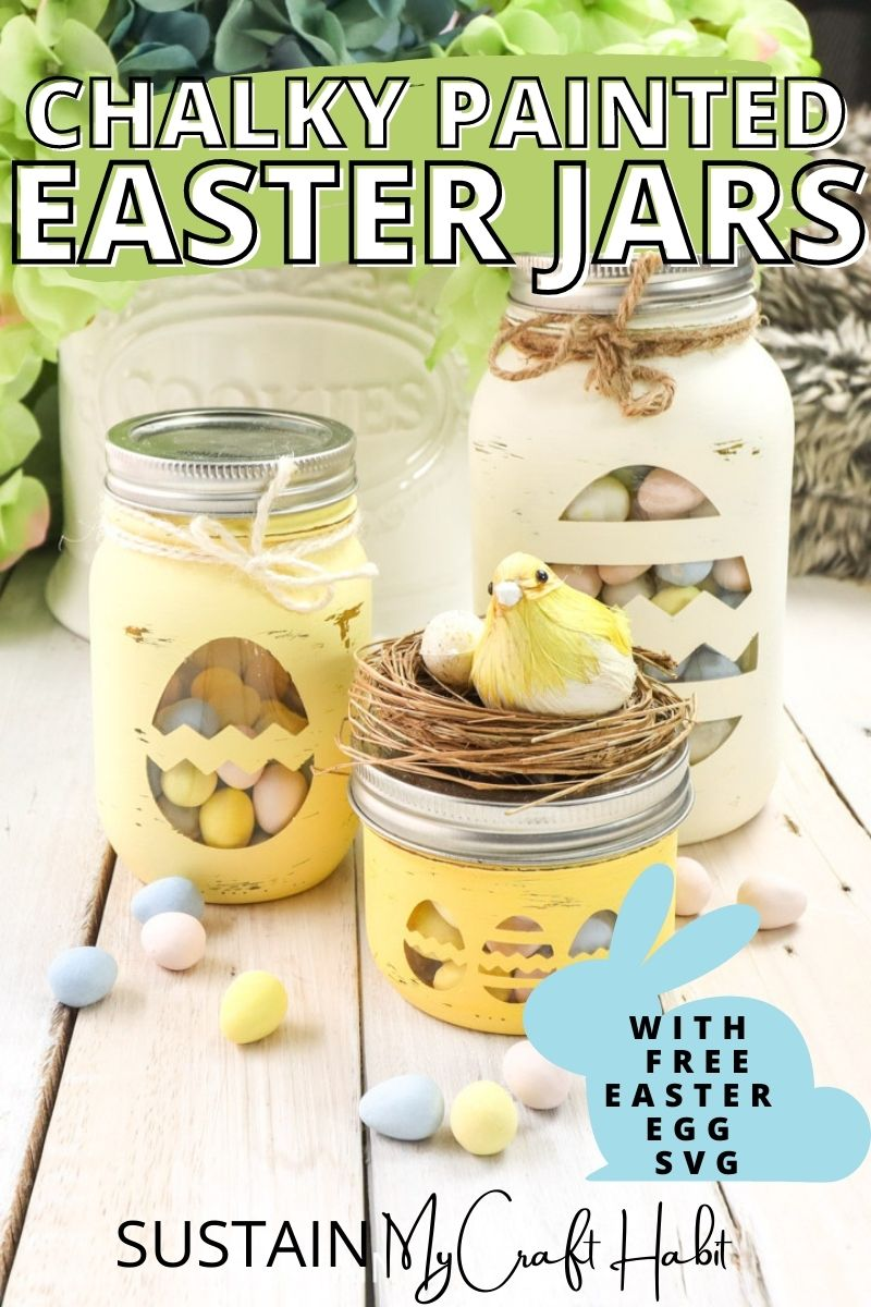 Easter candy jars made from mason jars and decorative twine and birds nest with text overlay.