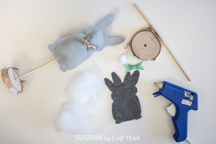 Materials and finished felt bunny Easter decor.