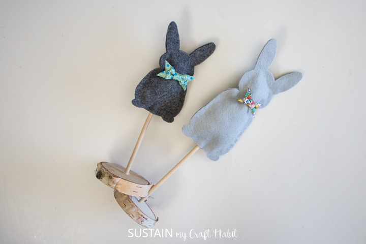 Finsihed felt bunny Easter decor.