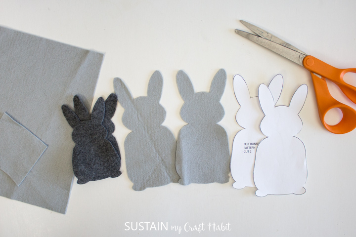 Cut out felt bunnies.
