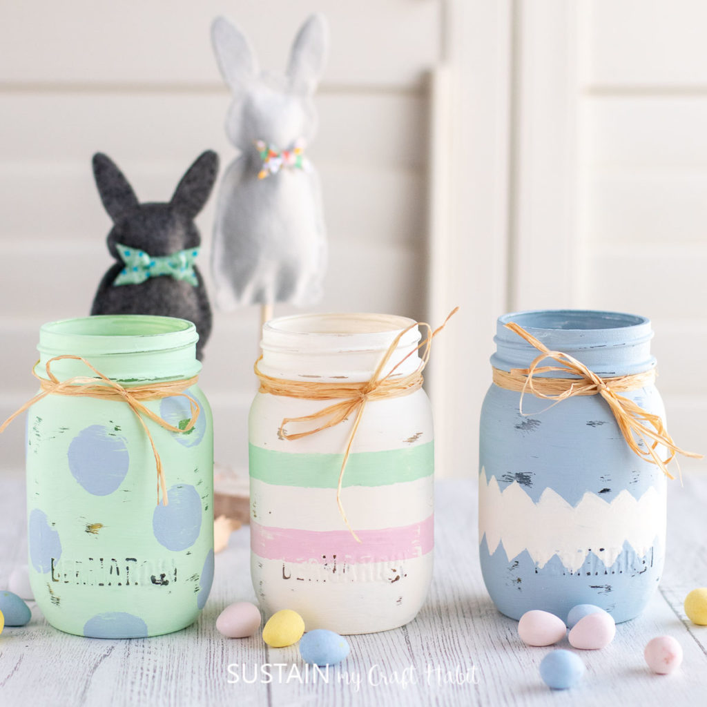 set of 3 decorative painted jars for Easter
