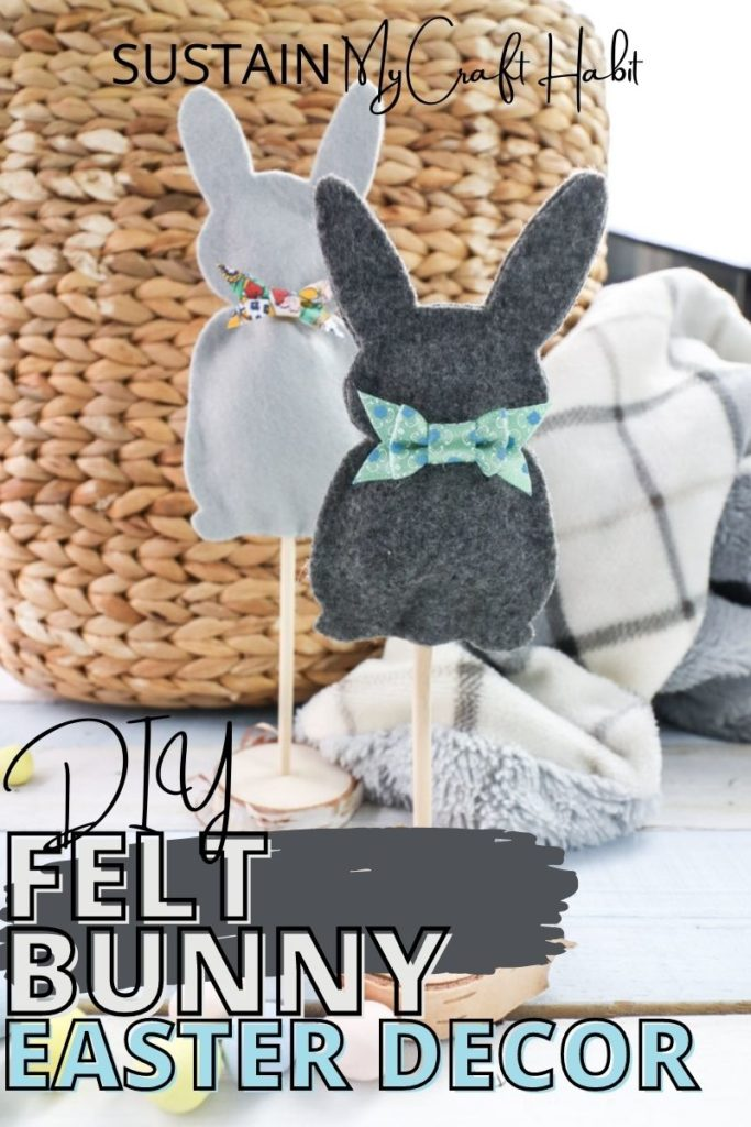 Felt Easter bunny decor with text overlay.