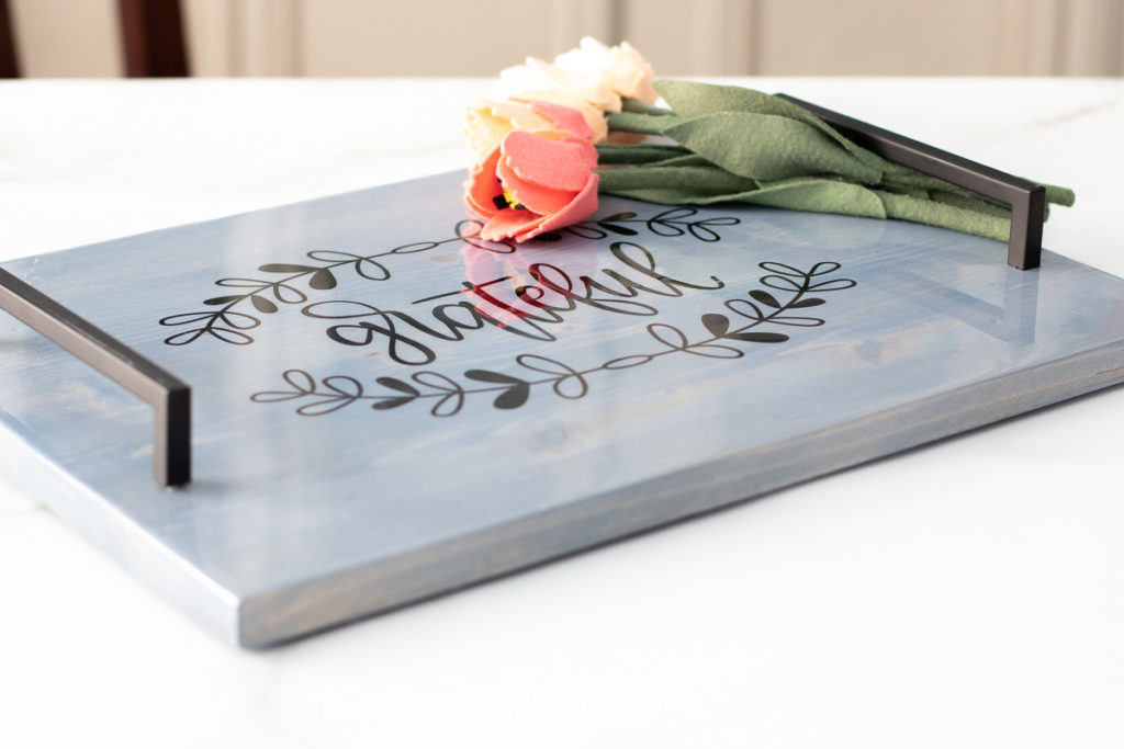 """Farmhouse inspired wood serving tray with the words """"grateful."""""""