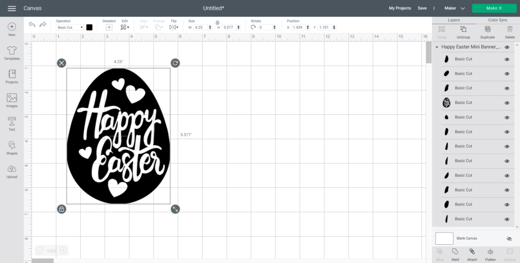 Uploading an Easter SVG in Cricut Design Space.