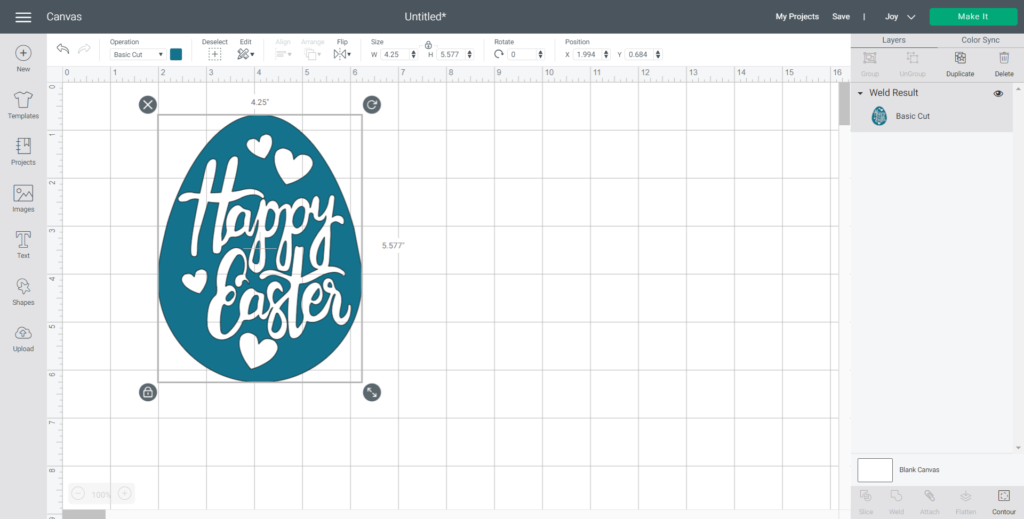 Changing the SVG color to blue in Cricut Design Space.