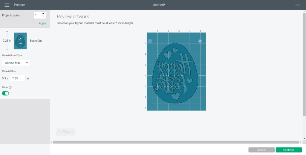 Turning the SVG image into mirror on in Cricut Design Space.