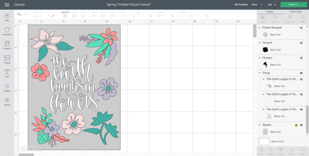 adjust flower colors to match Smart Vinyl and place around flower phrase