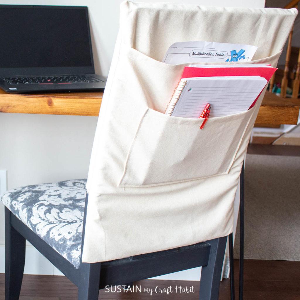 Canvas chair organizer.
