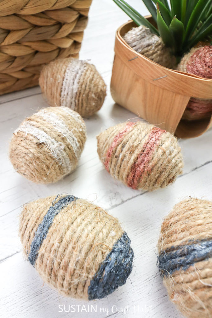 Twine wrapped Easter eggs.