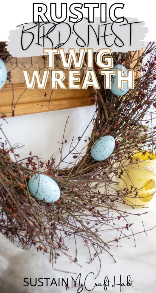 Twig wreath with decorative Easter eggs and text overlay.