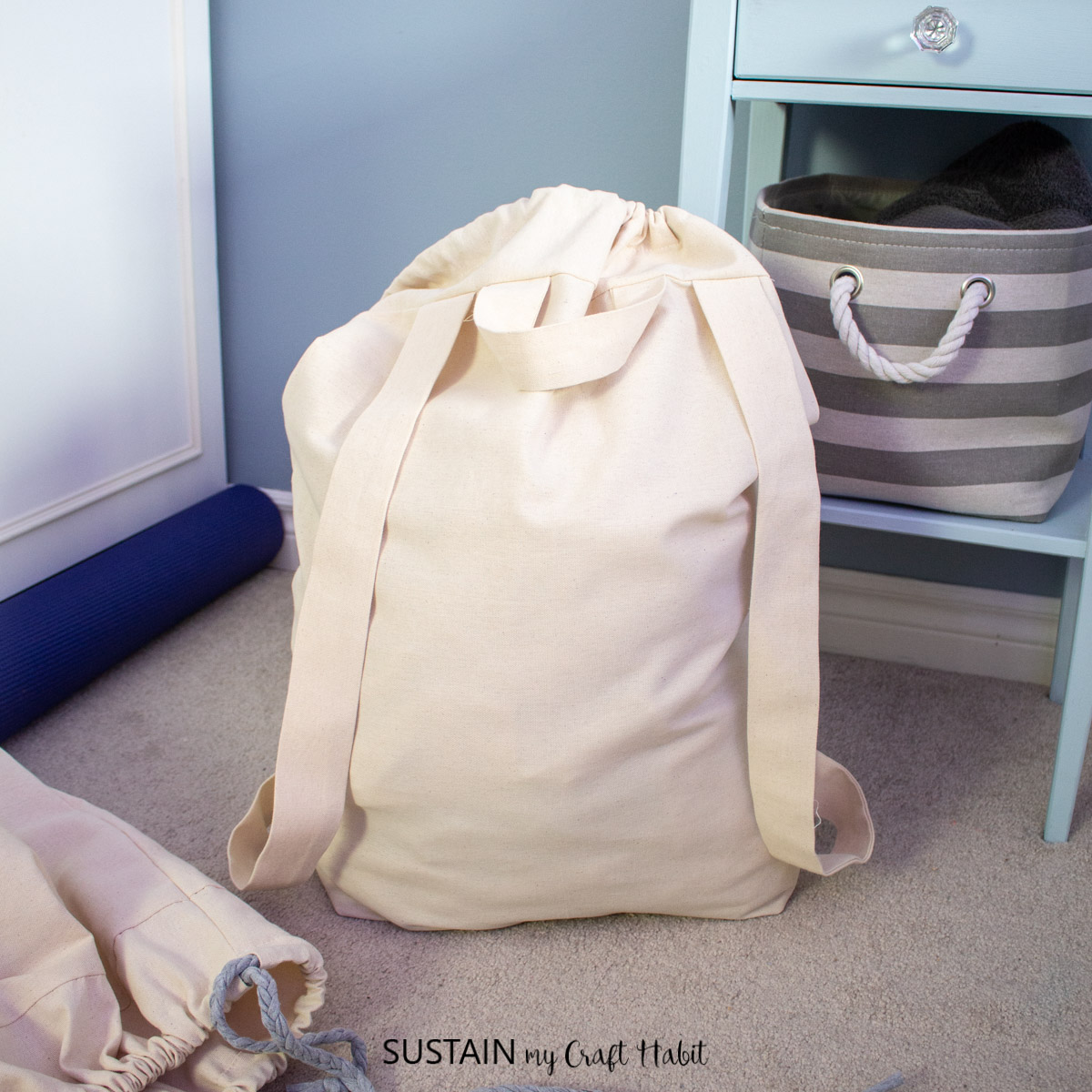 Laundry bag with straps.