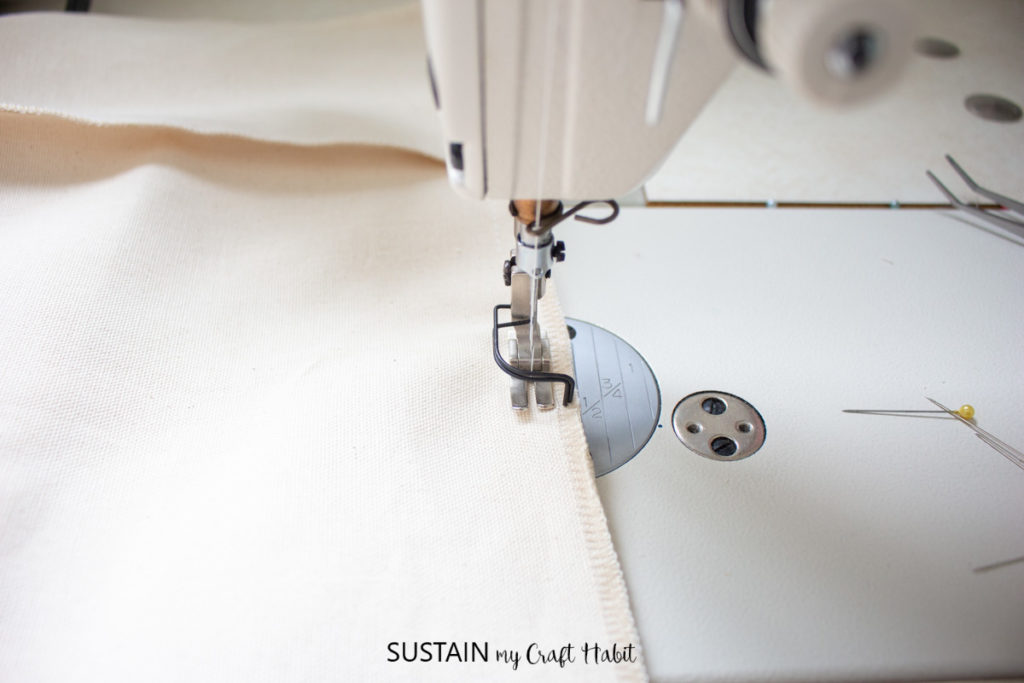 Sewing the sides from bottom to top.