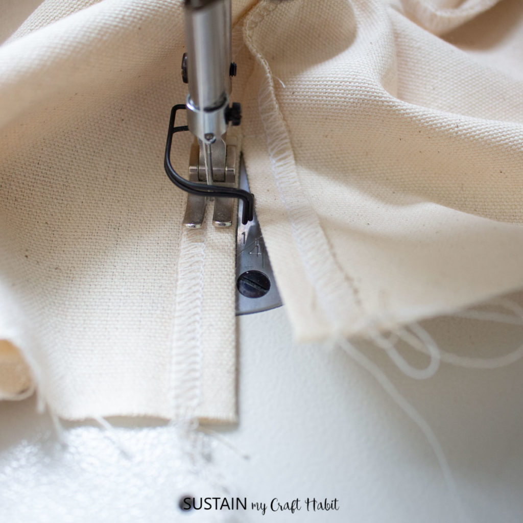 Folding and pressing the seam.