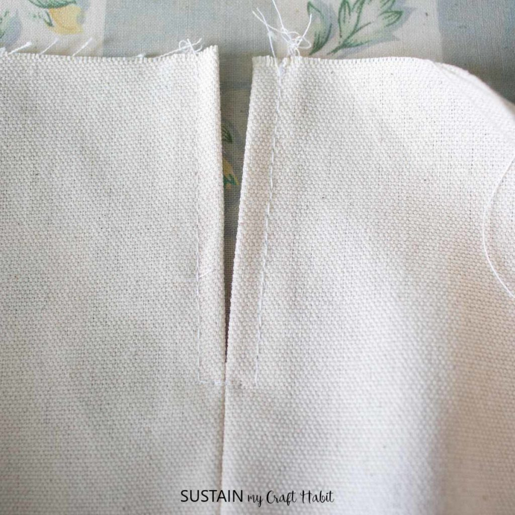 Sewing the seam in place.