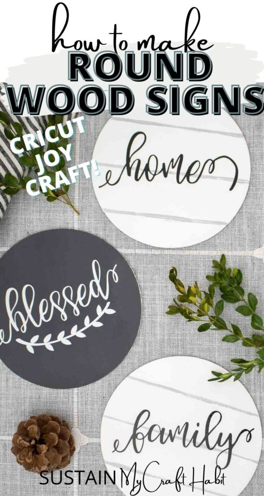 Round wood signs with vinyl lettering decorated with pine cones and greenery with text overlay.