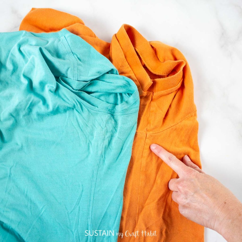 Blue and orange cotton tshirts with inseams.