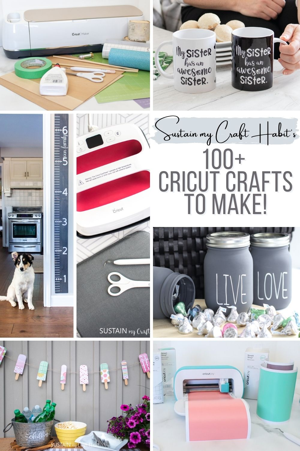 Collage of Cricut craft ideas to make