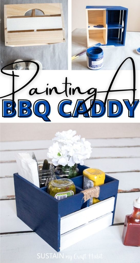 Collage of a painted BBQ caddy with text overlay.